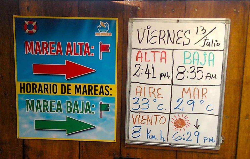 Temperaturen und Gezeiten in El Tunco