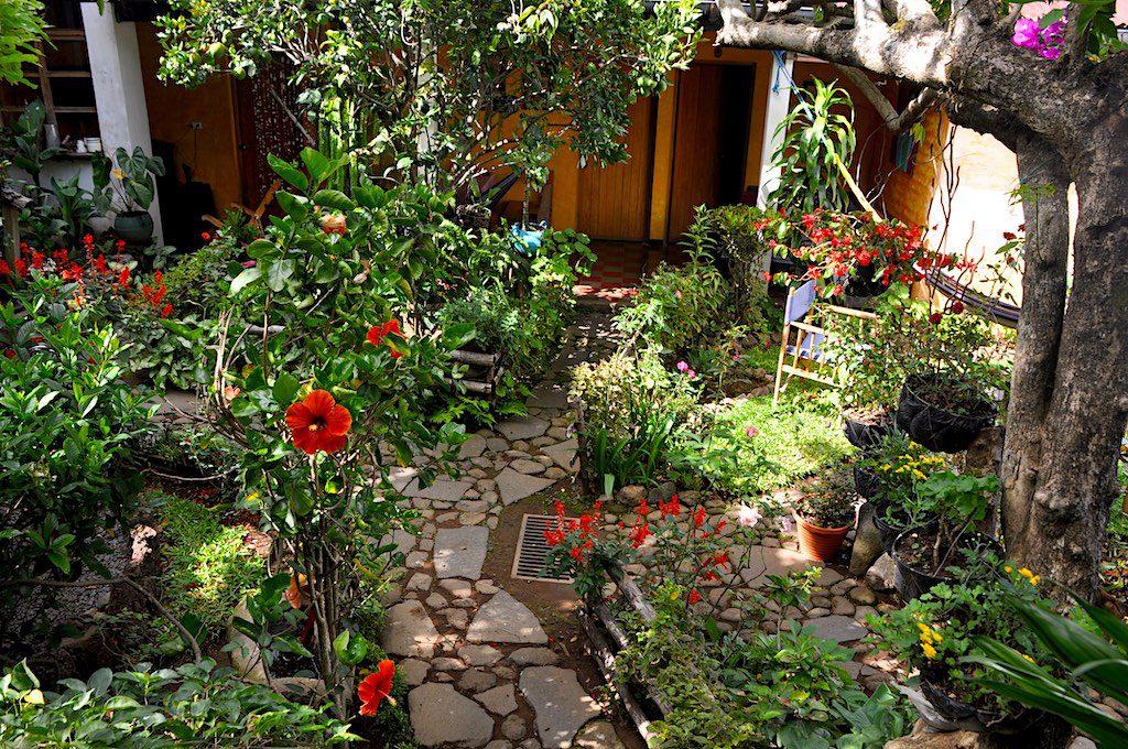 Der Innenhof des Hotel Anáhuac, voll mit Blumen und Pflanzen aller Art, ist eine Oase der Entspannung.