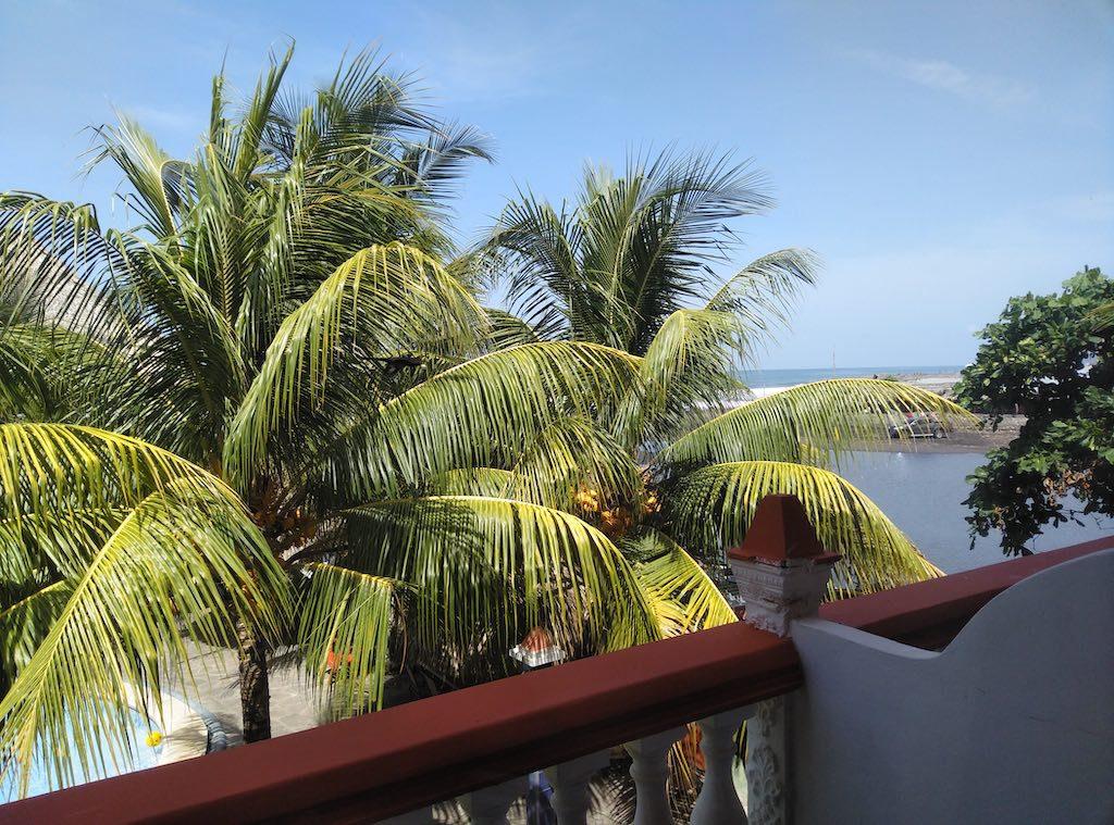 Blick vom Balkon im Sabas Beach Resort. Palmen im Vordergrund, im Hintergrund der pazifische Ozean.